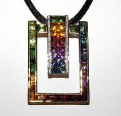 Bellarri Boulevard Collection 18K YG Diamond Multi Gem Enhancer Pendant New | eBay
