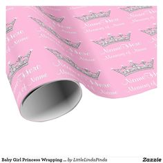 Pink and Silver Personalized Princess Wrapping Paper with her Name or YOUR TEXT. CHANGE Pink, White to Any COLOR. CLICK: http://www.zazzle.com/pd/spp/pt-zazzle_wrappingpaper?dz=edb83b37-d90e-418b-a801-2d5c4ea06fca&clone=true&pending=true&size=6ftroll&media=wrappingpaper_glossy&design.areas=%5Bwrappingpaper_tile_front%5D&view=113799492926194387&CMPN=shareicon&lang=en&social=true&rf=238147997806552929 Pretty Princess party supplies Princess Themed Baby Shower…