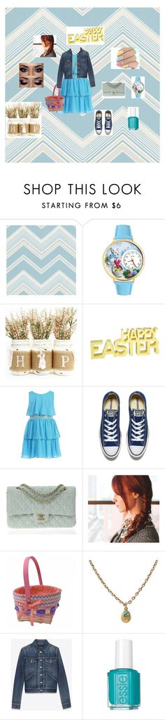 """Easter outfit #1"" by friendlyy ❤ liked on Polyvore featuring WallPops, Whimsical Watches, Converse, Chanel, Yves Saint Laurent and Essie"