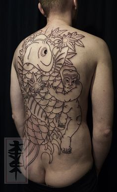 Kintaro tattoo, japanese back piece by Jarno | Tatuata