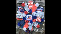 How to make a flip flop wreath with dollar tree supplies Diy Wreath, Door Wreaths, Flip Flop Wreaths, Supply List, How To Make Wreaths, Deco Mesh, Dollar Tree, 4th Of July Wreath, Holiday Crafts