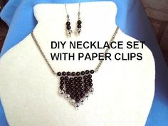 Paper Clip Necklace and Earrings, DIY Jewelry making, Silver Ball Dangle...