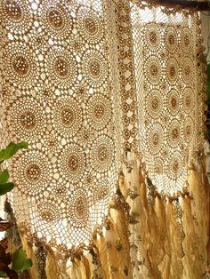 Custom Boho Hippie Vintage Crochet Curtain rag Fabric Garland Valance Backdrop cream Wedding Backdrop by BetterhomeLiving on Etsy https://www.etsy.com/listing/265342297/custom-boho-hippie-vintage-crochet