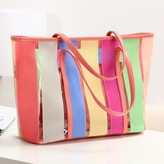 Stacy's bags new arrival 2014 spring summer hot sale women beach bag female transparent big bags rainbow stripes jelly totes bag $12.00