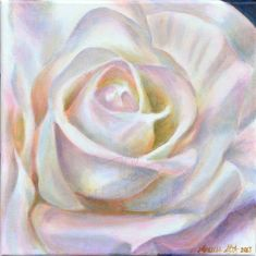 colorful flower painting - oil painting of a white flower - square painting - macro photography - rose - pastel wall art - abstract Big Flowers, Colorful Flowers, White Flowers, Nature Paintings, Watercolor Paintings, Cardboard Art, Macro Photography, Beautiful Roses, Fine Art Prints