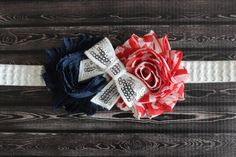 4th of July baby headband red white and blue by AshlynsAccessoryCo