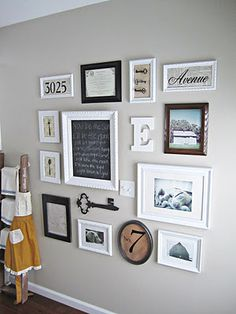 Gallery Wall - love incorporating photos with specimen art and initials. LOVE this!