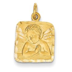 14k Yellow Gold Angel Solid Charm Pendant 22mmx13mm. 100% Satisfaction Guaranteed. 30 Day Money Back Guarantee. Upto 60% Off Retail. Free Jewelry Gift Box. Venture Gold Charms Collection.