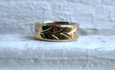 Amazing Vintage Leaf Patterned 14K White Gold Ring Wide by #GoldAdore, $495.00