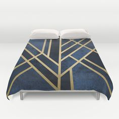 Art Deco Midnight Duvet Cover by Elisabeth Fredriksson - $99.00