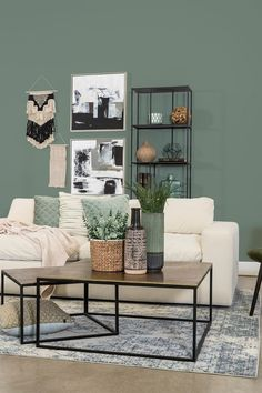 Living Room Ides, Winter Living Room, Nordic Living Room, Living Room Green, Living Room Paint, Home Living Room, Beige Couch, Room Color Schemes, Room Colors