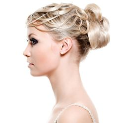 Updo with long blond hair