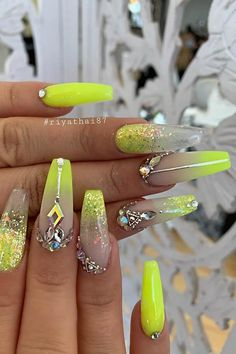 Glitzy and Glam Neon Nails #summernails #coffinnails #neonnails