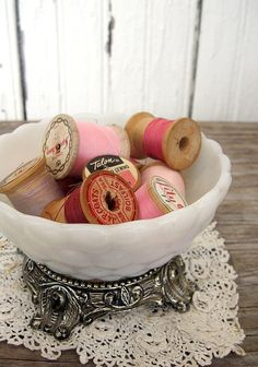 Pink thread in a lovely vintage bowl