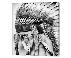Canvas print Tribal, zwart/wit, 60 x 50 cm