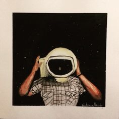 Spaceman watercolour painting | in  the dark we rise