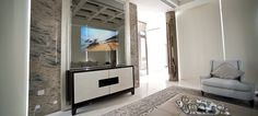 """55.0"""" Mirror TV for residential application, installed in a living room @ Ritz residence in Singapore."""
