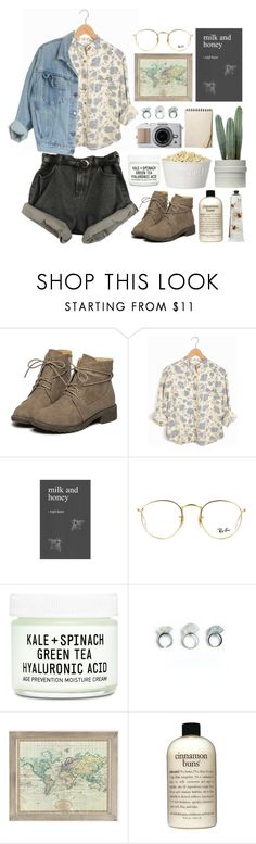 """..."" by indie-by-heart ❤ liked on Polyvore featuring Ray-Ban, Youth To The People, Urban Outfitters, philosophy and TokyoMilk"