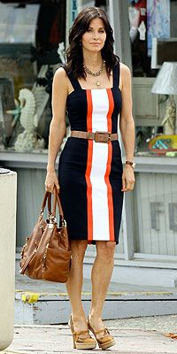 Where can I find Courtney Cox's stripped blue, orange and white dress?