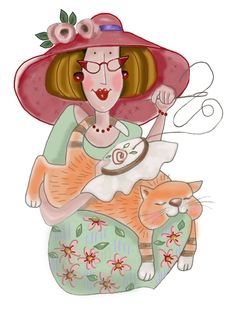Girl with Cat (Red Brolly) .... my cat does this every time I sit to stitch!!!