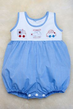 Make your own 'Hunter' baby boy Romper Soft gingham by JulieGraue