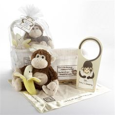 "$44.00   This charming gift includes:    A precious, bright-yellow, sweet-faced banana rattle  A plush brown-and-tan monkey  A satin-trimmed, cream-colored ""lovie"" blanket with a monkey-face appliqué and part of the rhyme embroidered on the satin trim  A door hanger, adorned with a long-tailed monkey hugging a pillow to let company know that ""baby's sleeping""  A natural-wood, keepsake basket lined with textured, white fabric featuring part of the rhyme and a smiling monkey on the front  Gift…"
