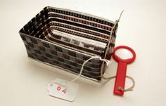 Filmstrips woven into baskets or containers