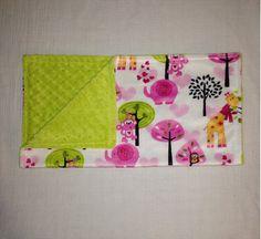 Animal Minky & Green Minky Dot Cuddle Blanket by CashAndCari