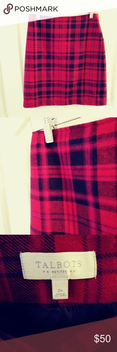 Vintage Talbots 2P Red and Purple Plaid Skirt Red, purple, and black plaid! Blind back zipper.  Lined.  Tailored fit! Tags: Valentine's Day Talbots Skirts