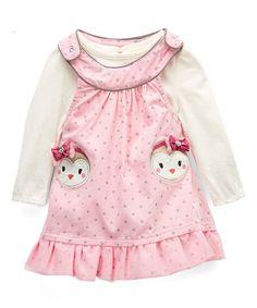 Young Hearts Pink Polka Dot Owl Jumper & White Bodysuit - Infant & Toddler | zulily