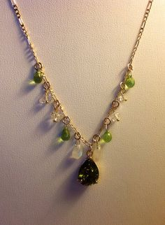 Peridot Necklace Faceted semi precious by JewelryByShari on Etsy, $140.20