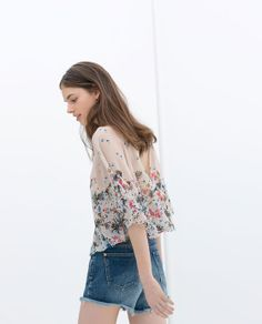 Imagem 3 de TOP FLORES ESTAMPADO da Zara