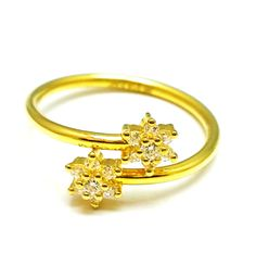 New Gold Female Ring Cz Stones Fancy Ring Size17 22ct 22k(916 Pure)Bis Hallmark
