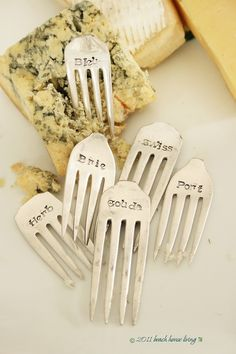 Cheese Marker Set of 6 recycled silver plated by BeachHouseLiving, $48.00