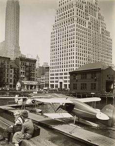 Downtown Skyport, Pier 11, East River, Manhattan, by Berenice Abbott - 20x200 (from $24)