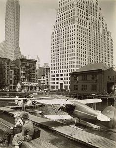 Downtown Skyport, Pier 11, East River, Manhattan, by Berenice Abbott - 20x200 (from $24)