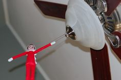 """TONS of Elf ideas! Here is one of """"Sparkle"""" just hanging around! :) Elf on the Shelf Ideas: Part 5"""