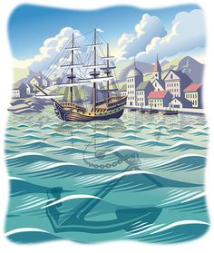 Safe Harbor. Digital scratchboard illustration by ©Gary Alphonso. Represented by i2i Art Inc. #i2art