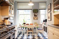 Kitchen Decorating , Black and White Kitchen Decor Ideas : Adorable White Kitchen Design With Black And White Checkered And Upholster Pattern
