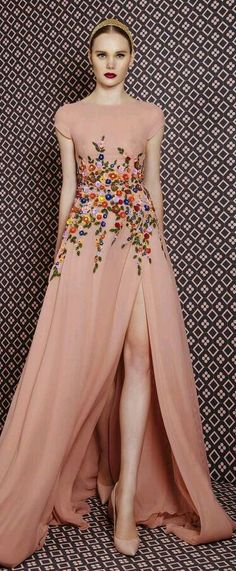 peachy floral formal dress