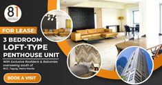 For Lease: 3 Bedroom Loft-type Penthouse Unit in BGC Makati City, Urban Life, Bedroom Loft, Pent House, 2nd Floor, Investment Property, Property Management, Manila, Philippines