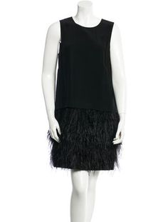 Tibi Feather Trim A-Line Dress