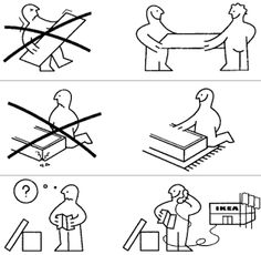 An example of an ikea illustrated instruction. Ikea is great example of step by step illustration clearly showing the processes involved for making different things. For instance, this picture advises the furniture to be setup using more than one person. Also this picture advises us to call ikea if we run into a problem.