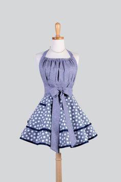 Etsy listing at https://www.etsy.com/listing/180217475/flirty-chic-apron-gray-and-white-polka