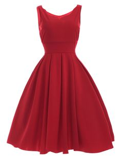 Women's Sweetheart Neck Pleated Red Dress in Red | Sammydress.com
