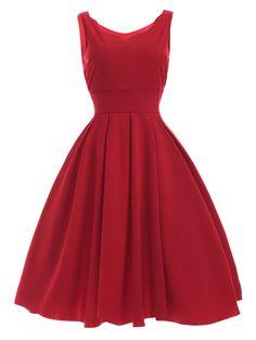 $12.65 Las mujeres 's del cuello del amor del vestido rojo plisado