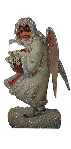 Large 10 inch glittered easel back standing Victorian angel card