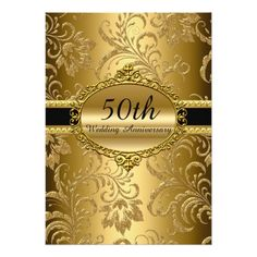 50th Wedding Anniversary Party Gold Floral 50th Wedding Anniversary Invite 50th Wedding Anniversary Invitations, Anniversary