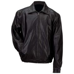 Gianni Collani Mens Solid Leather Bomber-Style Jacket