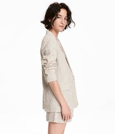 Check this out! Straight-cut jacket in lightweight, crêped pinstripe fabric made from a cotton blend. Single button and front pockets with flap. Lined. - Visit hm.com to see more.